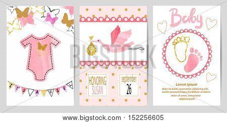 Baby shower girl set. Vector invitation card design.
