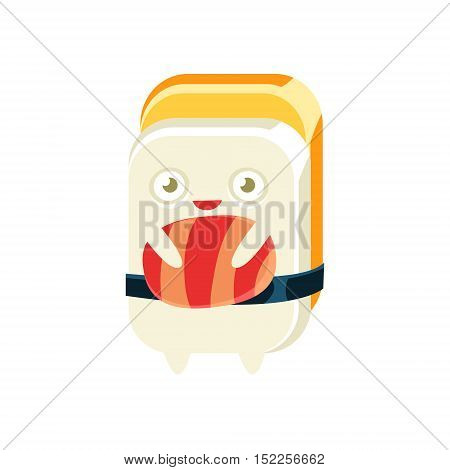 Geisha Funny Maki Sushi Character. Silly Childish Drawing Isolated On White Background. Funny Creature Colorful Vector Sticker.