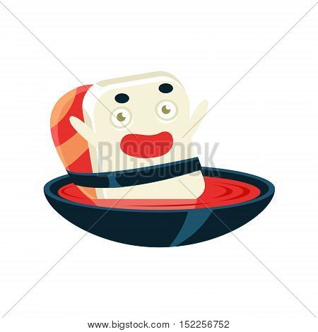Funny Maki Sushi Character Bathing In Soup Bowl. Silly Childish Drawing Isolated On White Background. Funny Creature Colorful Vector Sticker.