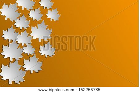 Autumn background with paper cut maple Vector illustration.