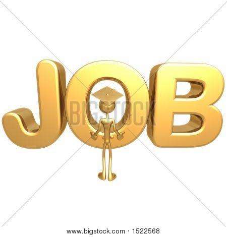 Geoz04433Golden Grad With Doubts On Job Market Graduation Concept