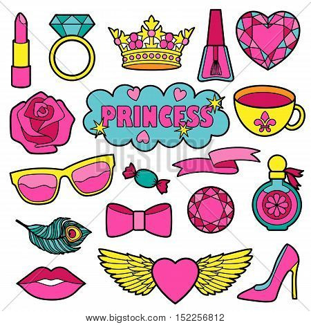 Princess fashion patches. Vector Pin badges set. Colorful stickers collection. Appliques for denim or clothes.