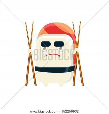 Funny Maki Sushi Character With Eating Sticks. Silly Childish Drawing Isolated On White Background. Funny Creature Colorful Vector Sticker.