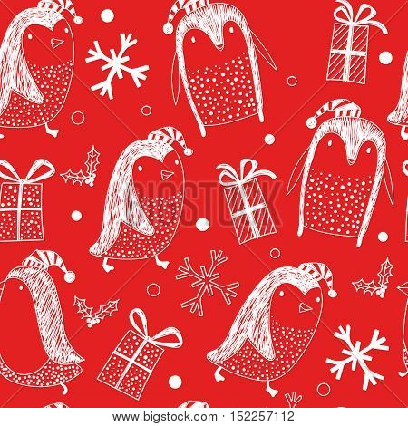 Seamless pattern with little cute penguins on background