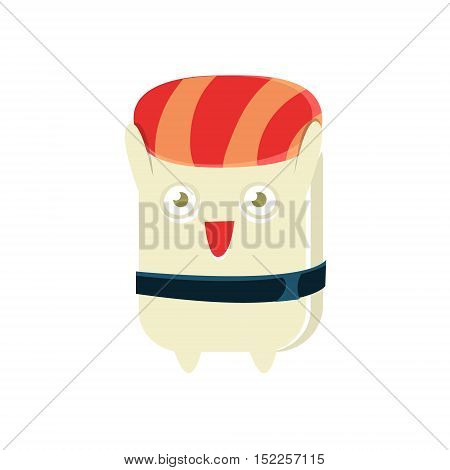 Happy Funny Maki Sushi Character. Silly Childish Drawing Isolated On White Background. Funny Creature Colorful Vector Sticker.