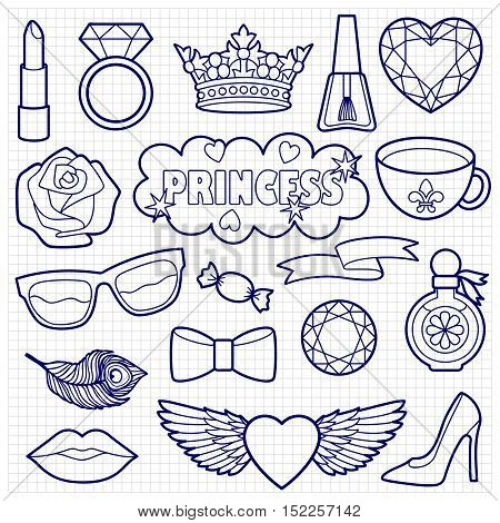 Princess fashion patches. Vector pin badges set. Stickers sketch on squared paper. Appliques for denim or clothes.