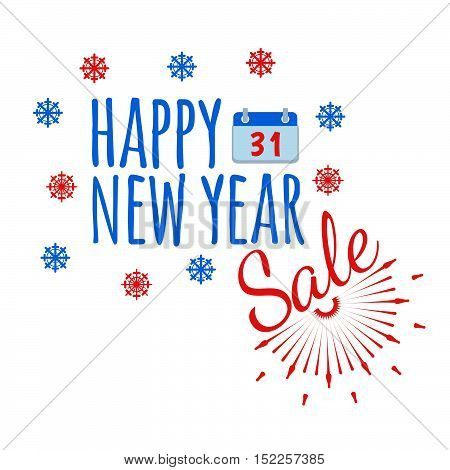 Happy New Year Banner And Giftcard. Xmas Poster And New Year Sign On White Background. Vector Illust