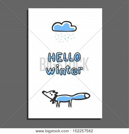Hello winter greeting card with rainy cloud and cute fox. Vector illustration. Sweet childish blue doodle fox