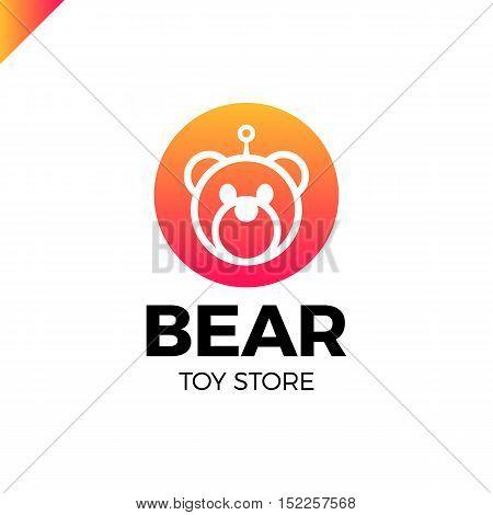 Space Robot Bear Logo Wearing With Antena. Toy Store Lgotype