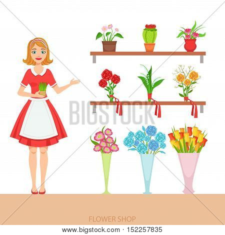 Female Florist In The Flower Shop Demonstrating The Assortment. Simple Vector Illustration With Flower Shop Seller With The Home And Orangery Plants On The Shelves.
