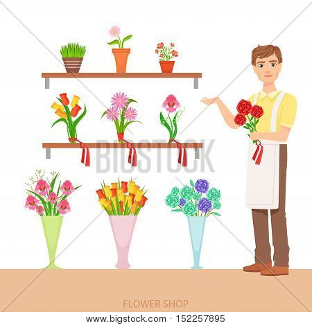 Male Florist In The Flower Shop Demonstrating The Assortment. Simple Vector Illustration With Flower Shop Seller With The Home And Orangery Plants On The Shelves.