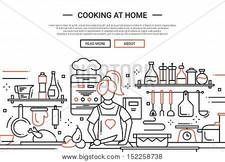 Illustration of vector modern simple line flat design website banner, header with a girl cooking at home