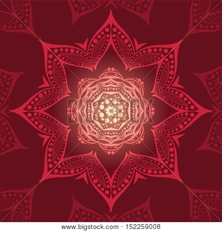 Circular background in dark red colors. Flower circular background. A stylized drawing. Mandala. Stylized lace ornament. Indian floral ornament. Beautiful ethnic, oriental background.