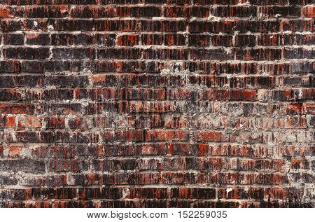 Brick wall seamless photo, dark weathered stained old texture background