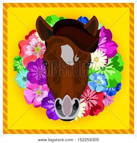 Vector portrait of a horses among the flowers. Beautiful flower frame, rim. Symmetrical portraits of animals. Vector Illustration, greeting card, poster. Icon. Animal face. Image of a horses face.
