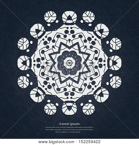 Beautiful lacy white tablecloth, doily dark background. Beautiful circular ornament. Mandala. Vintage decorative elements. Islam, Arabic, Indian, ottoman motifs. Stylized flowers.