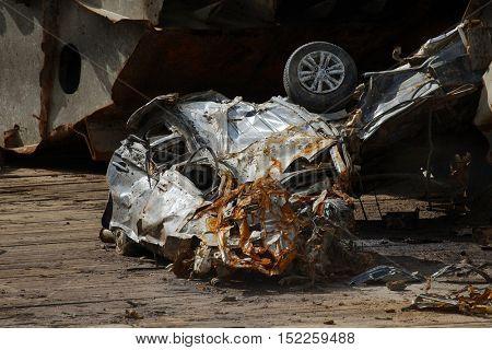 Car deformed, crashed, crumpled, wrecked