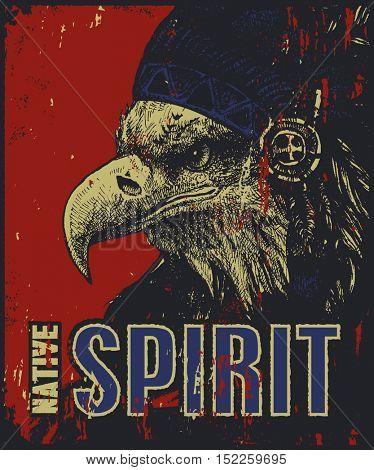 Native American poster, eagle in war bonnet, vector illustration
