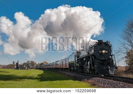 BONGARDS MN - OCTOBER 9,2016: The Milwaukee Road #261 steam train on its annual Fall Colors Tour from Minneapolis MN to Winthrop MN. This line has not had regular passenger trains traffic since 1960.