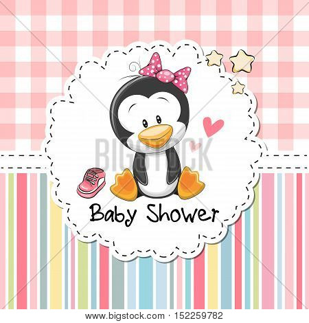 Baby Shower Greeting Card with cute Cartoon Penguin girl