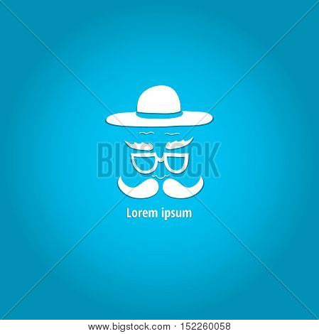 Logo with a man in a stylish hat with a mustache and glasses. The stylized face with a mustache. Hand drawing. White logo on a blue background.
