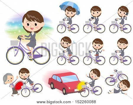 Gray Suit Business Woman Ride On City Bicycle
