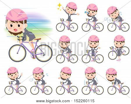 Gray Suit Business Woman Ride On Rode Bicycle