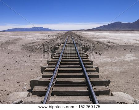 Railway crossing the desert in the south of Bolivia
