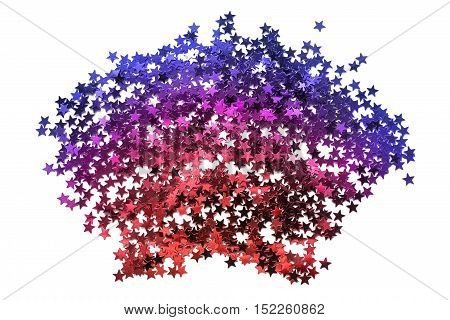Colorful star shaped glitter on white background