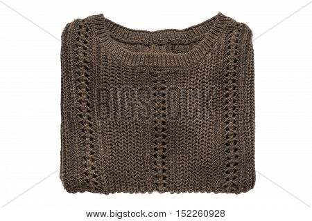 Folded brown knitted pullover on white background