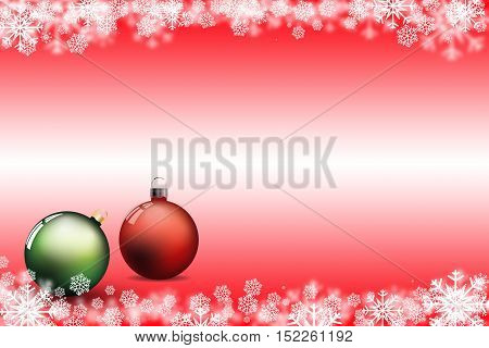 snow and chrismas ball green and red background