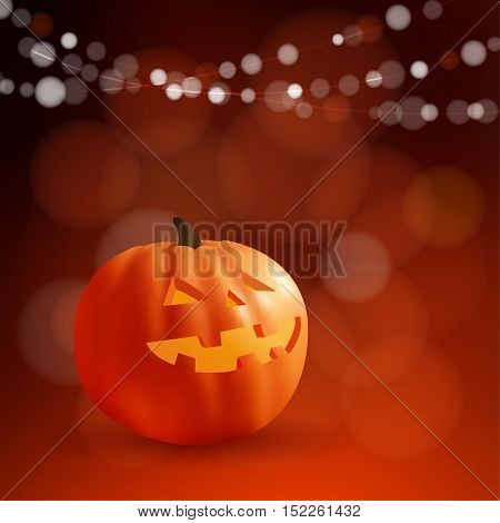 Halloween or Dia de los Muertos greeting Day of the Dead card invitation. Freaky carved pumpkin and party lights vector illustration background.