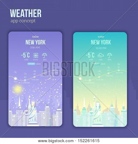Weather application on a mobile phone with city landscape. Day and night weather with rain, snow and sun and atmosphere icons