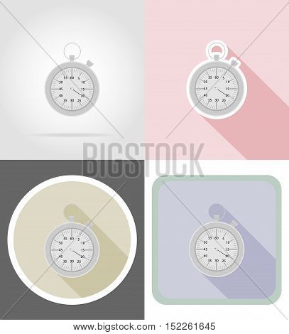stopwatch flat icons vector illustration isolated on background