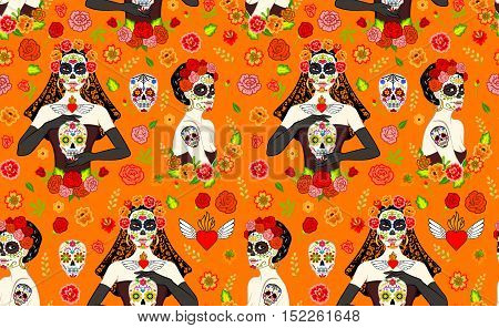 Seamless pattern with mexican beautiful women with Dia Los Muertos make-up and sugar skull