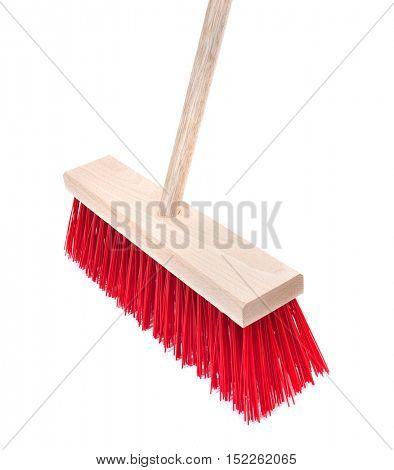 Standard yard broom on white background