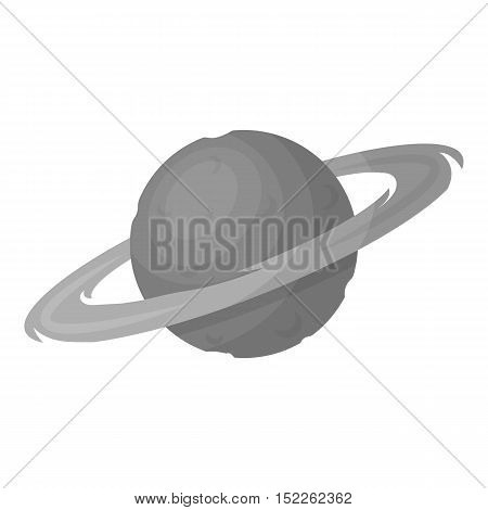 Saturn icon in monochrome style isolated on white background. Space symbol vector illustration.