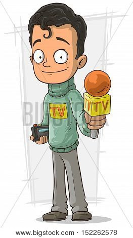 A vector illustration of Cartoon handsome TV journalist with orange microphone