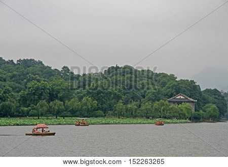 Boats On West Lake In Hangzhou