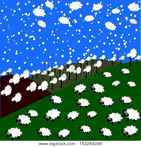 sheep, forest, clouds and snowflakes in the mountains