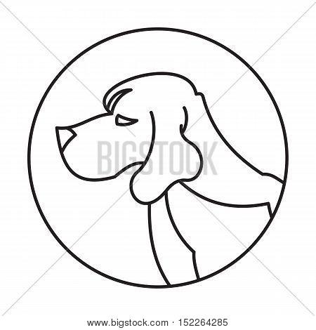 Head of breed dog beagle. Animal mammal creature, vector illustration