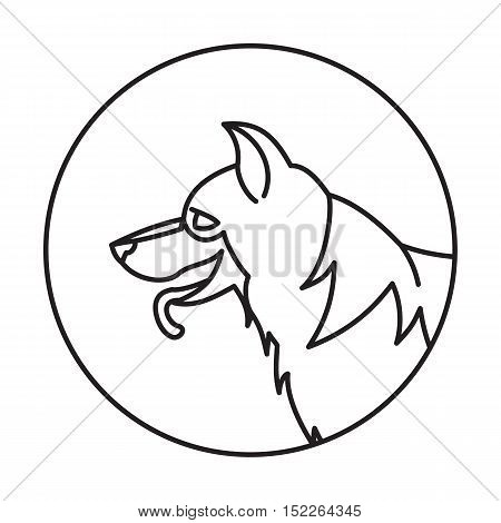 Head of breed dog german shepherd. Portrait animal muzzle, vector illustration