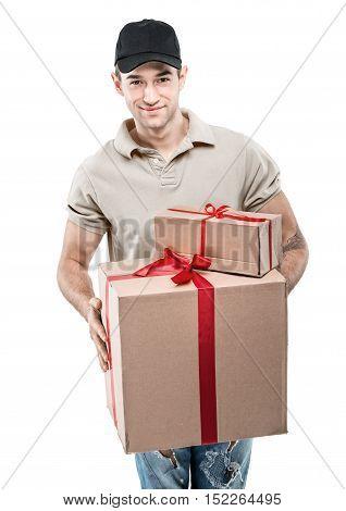 Handsome man in santa hat - hand gift box