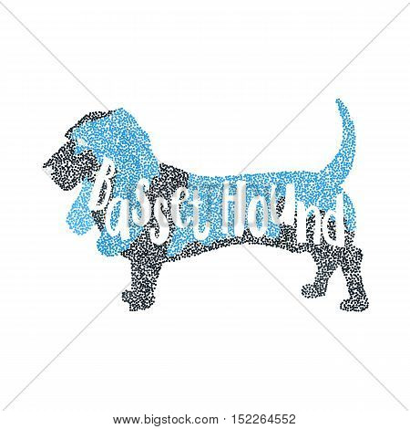 Form of round particles basset hound dog. Companion animal and breed dog. Vector illustration