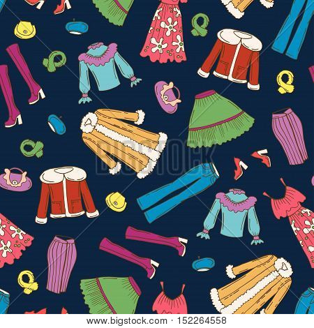 Vector seamless pattern with hand drawn colored fashionable clothes for women on dark blue. Pattern on the theme of beauty and fashion. Background for use in design, packing, web site, fabric