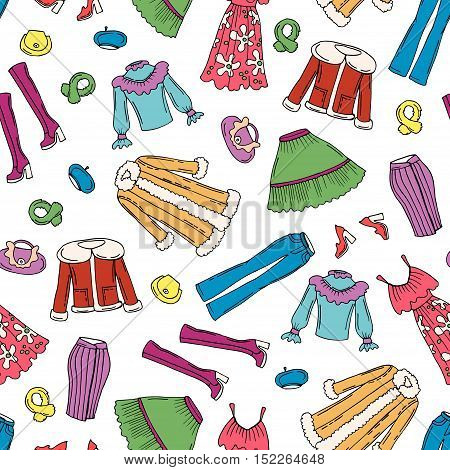 Vector seamless pattern with hand drawn colored fashionable clothes for women. Pattern on the theme of beauty and fashion. Background for use in design, packing, web site, fabric