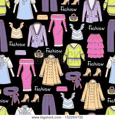 Vector seamless pattern with hand drawn colored fashionable clothes for women on black color. Pattern on the theme of fashion beauty. Background for use in design, packing, web site, fabric