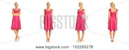 Beautiful Blonde Woman In Pink Dress Isolated On White