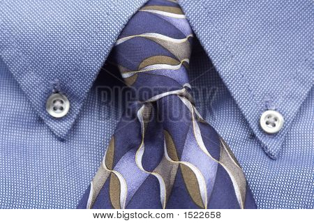 Upclose Of Blue Shirt And Tie