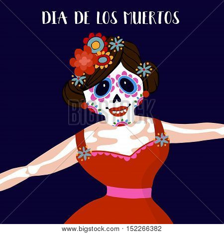 Dia de Los Muertos greeting card invitation. Mexican Day of the Dead. Woman with flowers dressed as skeleton. Ornamental skull. Hand drawn vector illustration background.